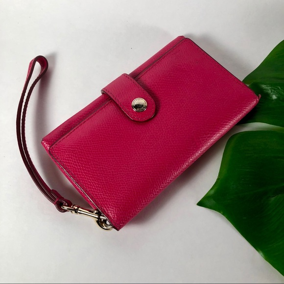Coach Handbags - Coach Small Hot Pink Leather Bifold Wallet